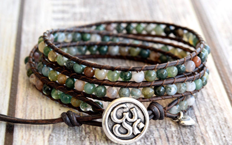 Ohm Wrap Bracelet Yoga Jasper Gemstones