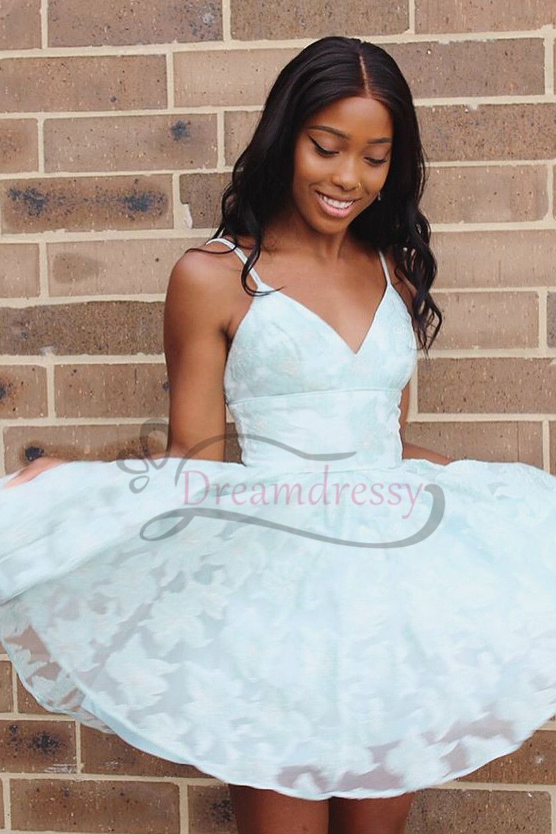 Princess straps mint green lace short homecoming dress prom