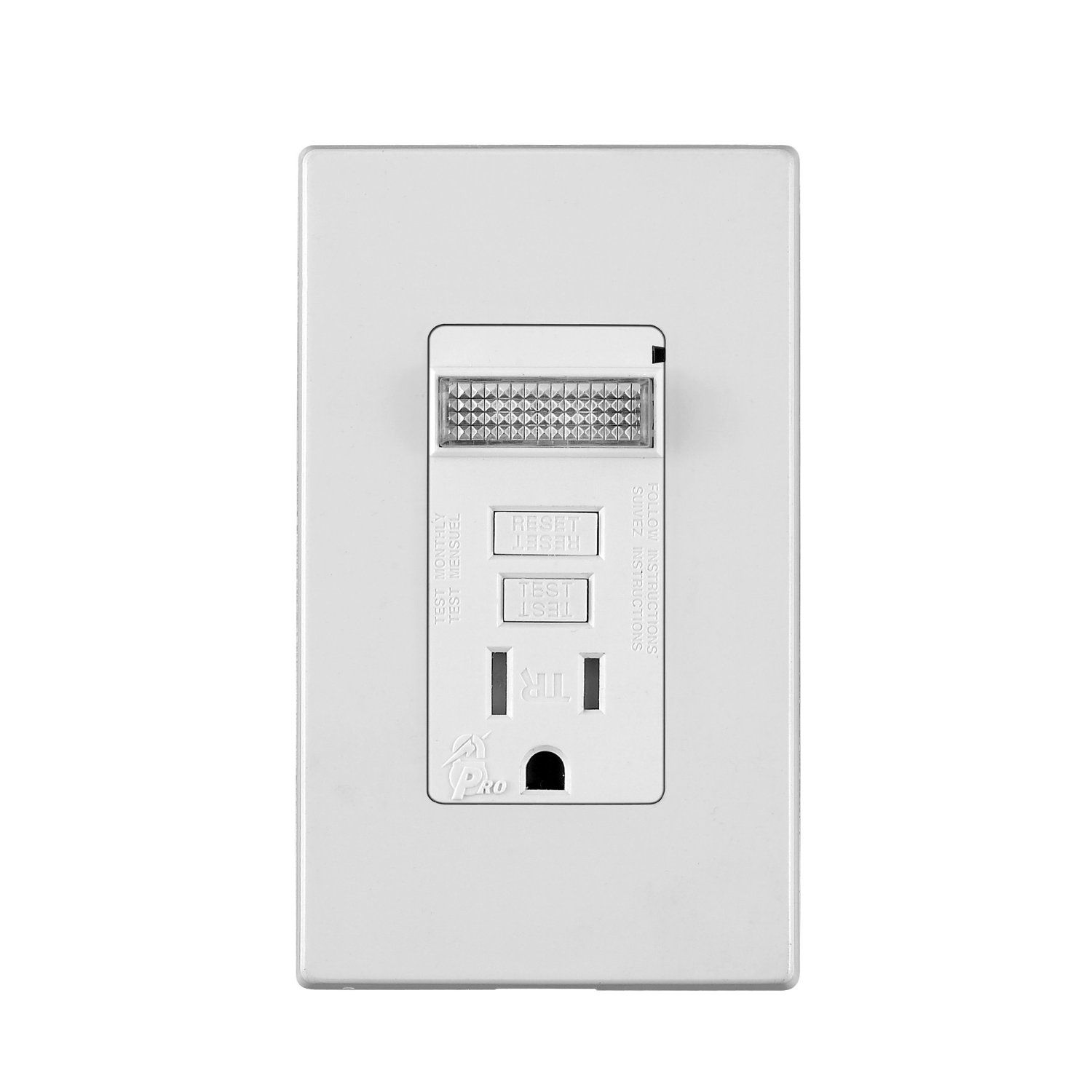 Amazoncom Leviton T7591 W 15 Amp 125 Volt Tamper Resistant Switch Schematic Combo Wiring Diagram Smartlockpro Combination Gfci Outlet With Sensor Guidelight Bathroom Vanity Height