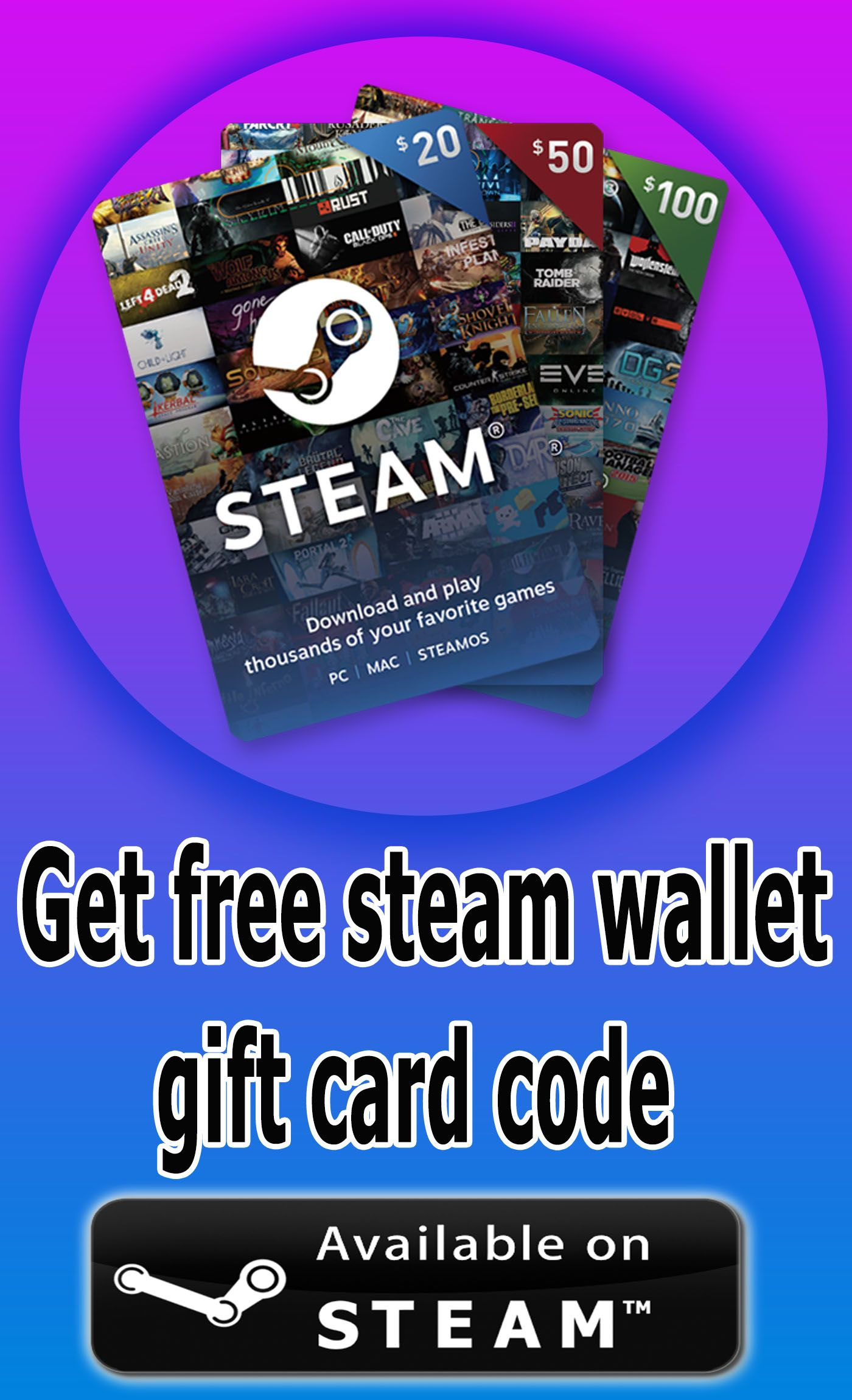 Get Free Steam Wallet Gift Card Codes Wallet Gift Card Gift Card Generator Get Gift Cards