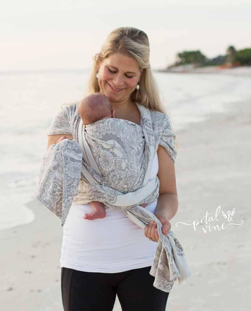 Newborn Kangaroo Carry Woven Wrap Tutorial Step 9 Tie Knot Under