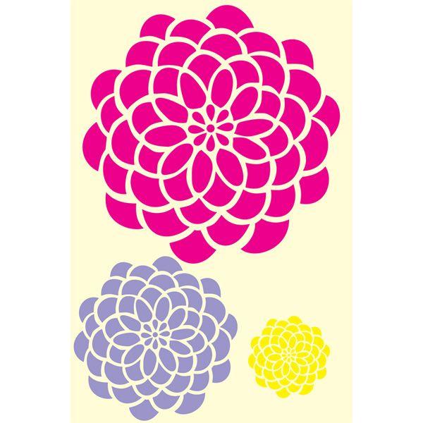 Large Flower Stencils : Bold blossom kit small large xlarge zinnia flower designer