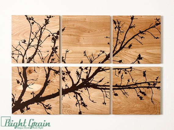 Pretty Branches in Bloom Original Wall Art on Wood Grain Panels - This Pretty Branches In Bloom Artwork Is Sure To Wow Your Guests