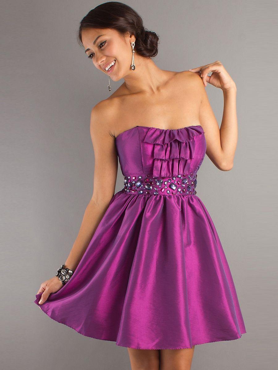 A-Line Taffeta Purple Strapless Neckline Beaded Waistline Sleeveless ...