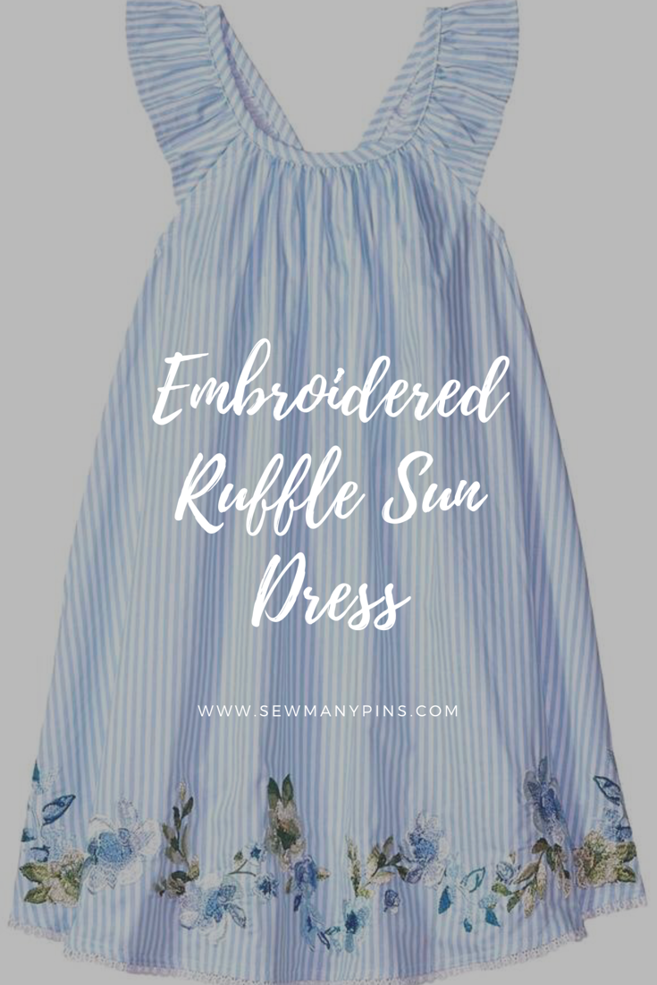6623cc3d467 Mud Pie Embroidered Ruffle Sundress with blue and white stripes AND flowers