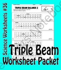 Science Basics Reading a Triple Beam Balance Worksheet Packet from ...