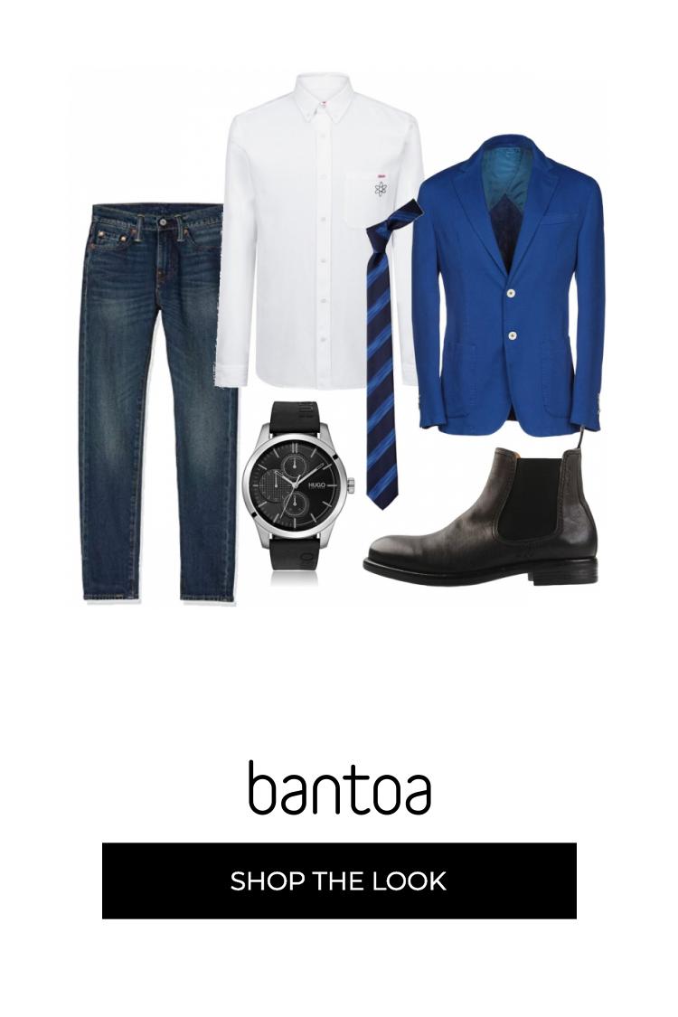 outfit giacca blu elettrico uomo