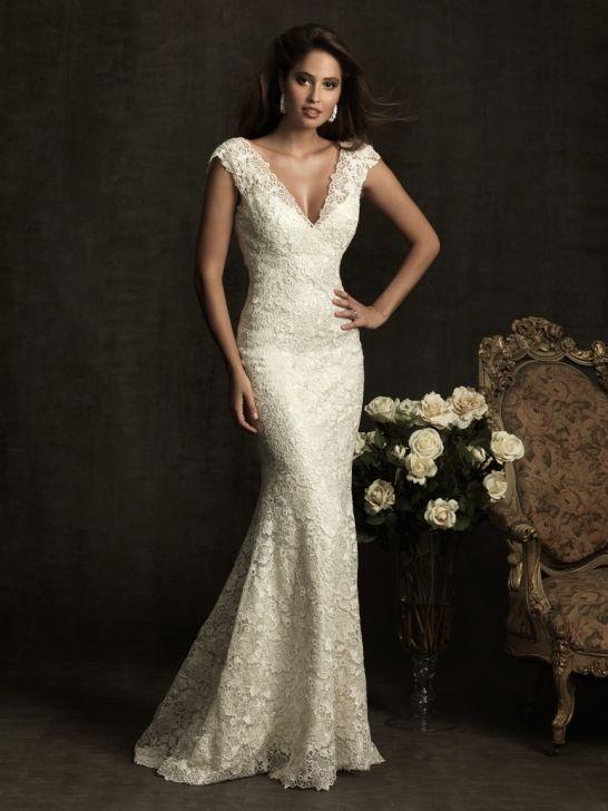 Lace And Charmeuse V Neck Mermaid Sleeveless Wedding Dress With Chapel Train AB8903