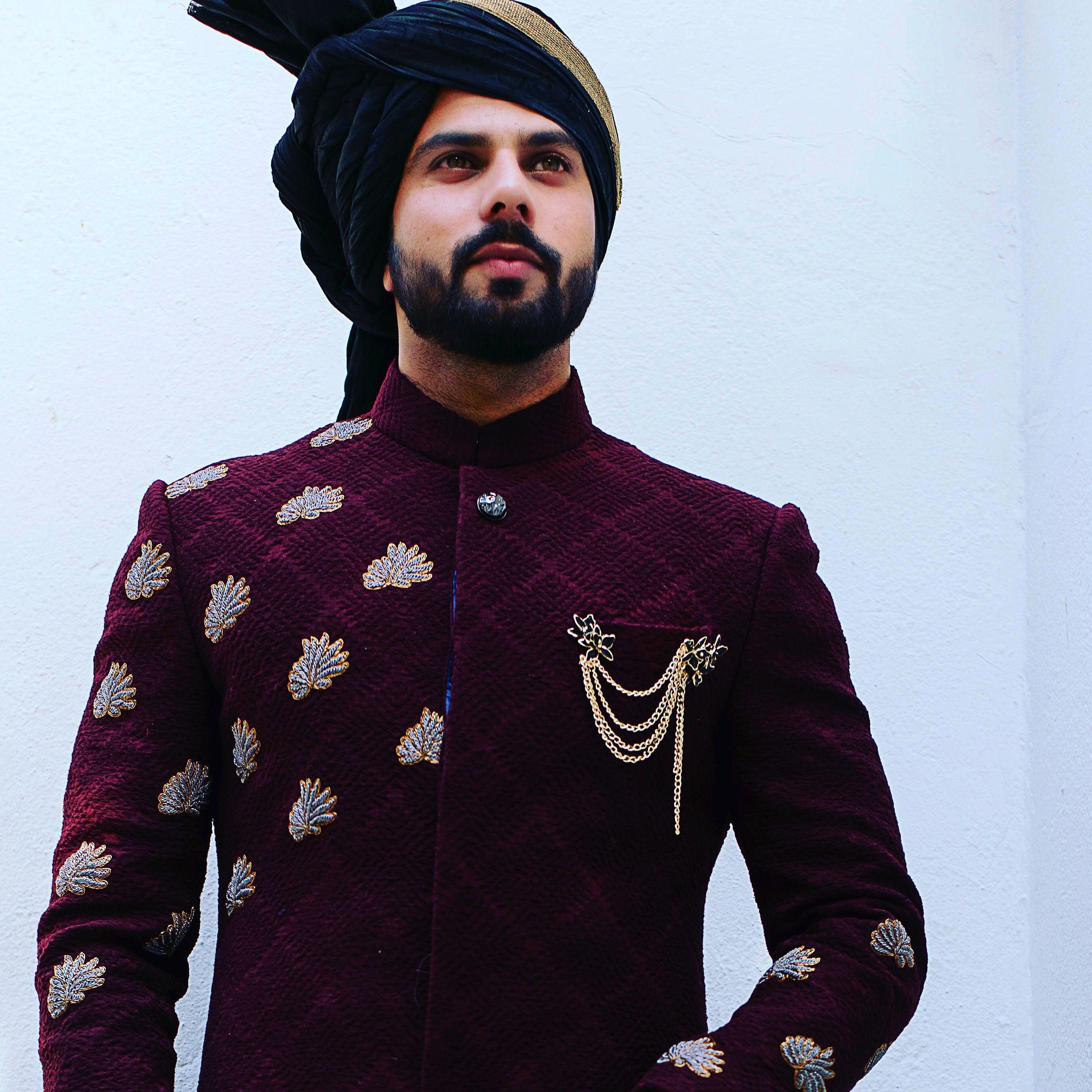 Wedding Gown For Men: Exquisite Handcrafted Zardozi Motifs On A Textured
