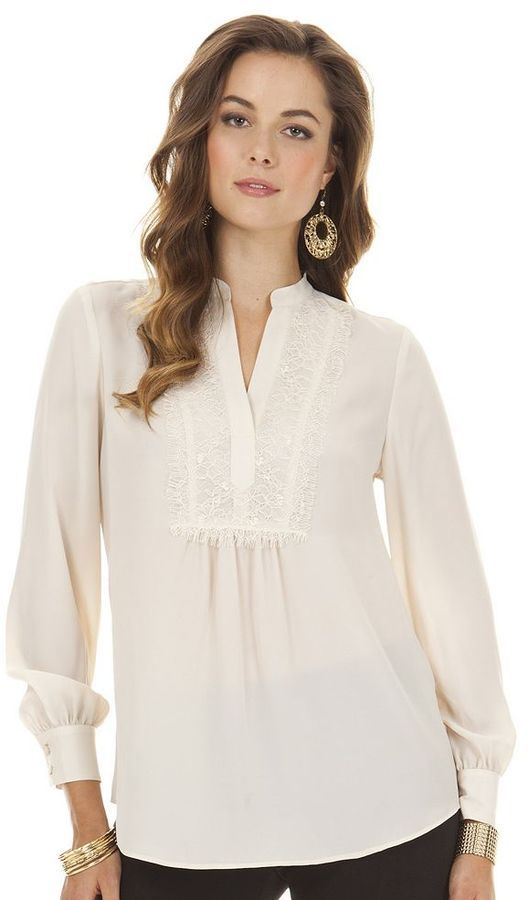 f85ed6ecce4 Daisy fuentes ® lace-trim blouse - petite on shopstyle.com ...