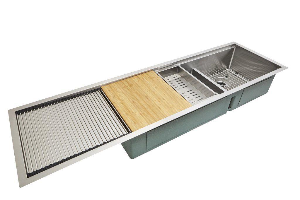 Stainless Steel Drainboard Undermount Double Bowl Kitchen Sink