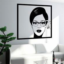Wall Sticker Sexy fille femme ados en lunettes de Pop Art chambre(China (Mainland))