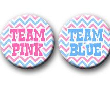 Gender Reveal Party Pin Badges for Baby Shower TEAM PINK BLUE clothes