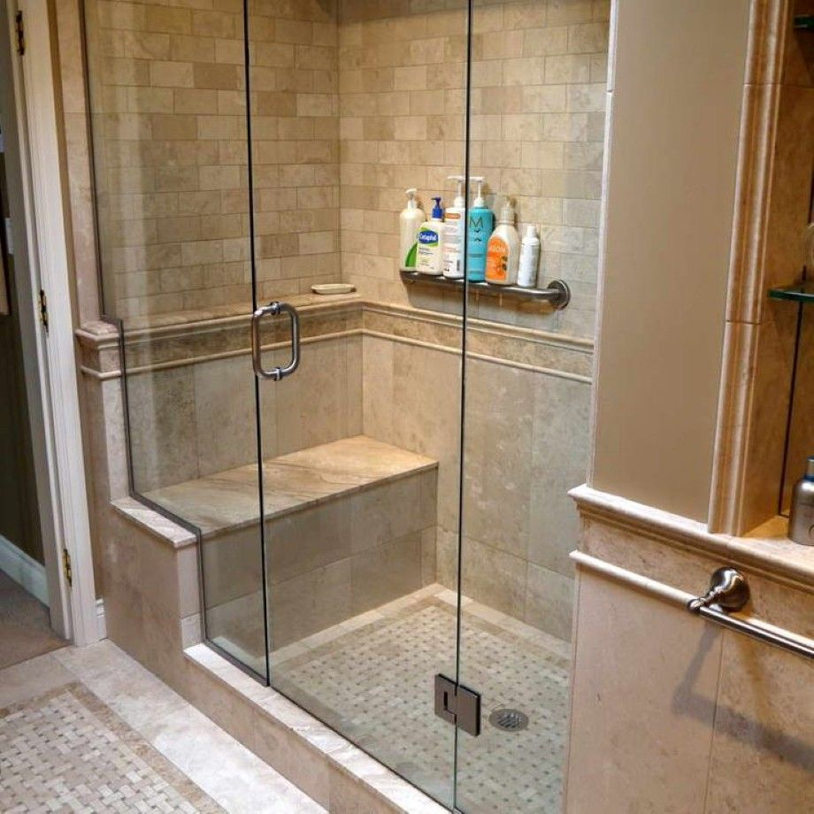 Bathroom Great Corner Walk In Shower With Built In Bench Plus Inside Shower W