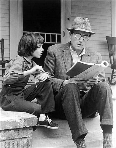 Scout and Atticus in To Kill a Mockingbird