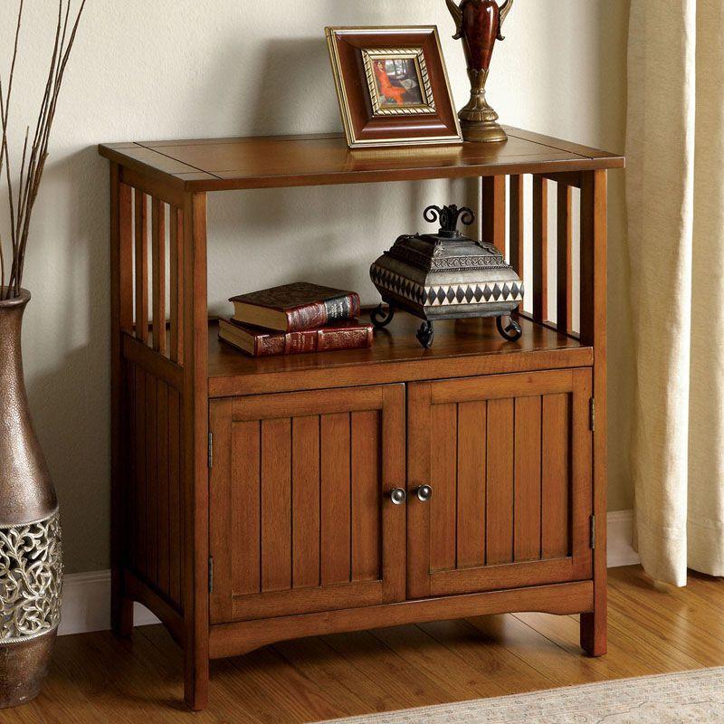MISSION Style Wood Oak Double Side Doors 1 Shelf Accent Table Storage  Cabinet #FurnitureofAmerica #ContemporaryModern
