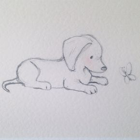 Puppy Print Dachshund And Butterfly Pet Gift Dog Portrait Etsy