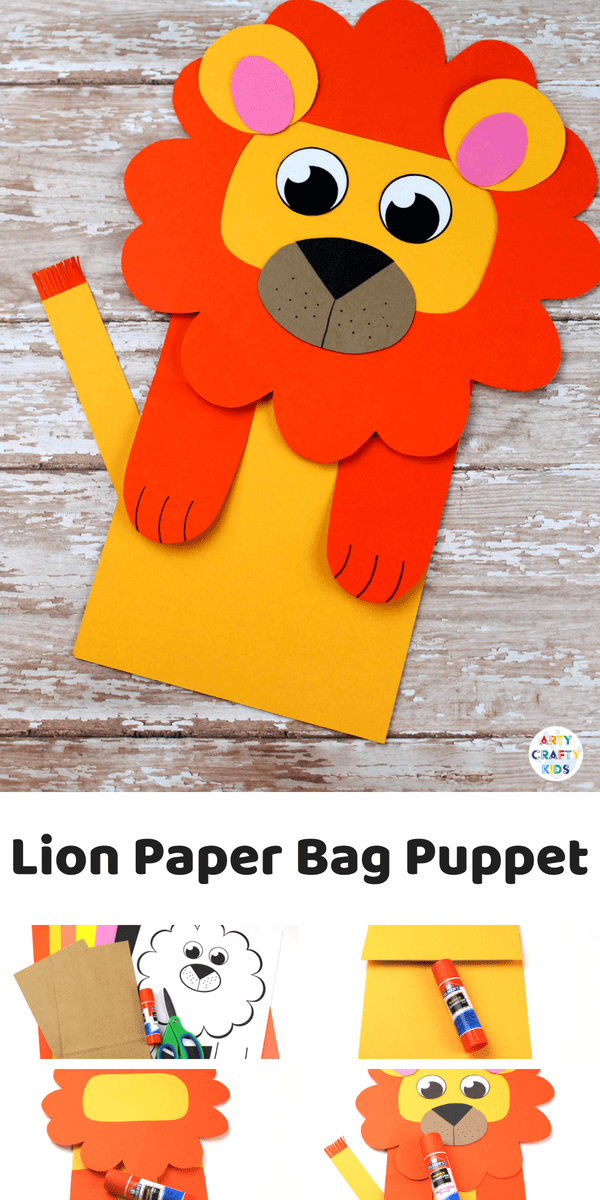 Paper Bag Lion Puppet #craftsforkids