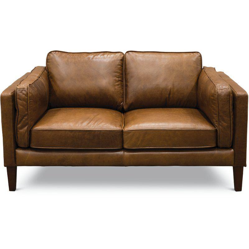 Superb Mid Century Modern Brown Leather Loveseat Brompton Inzonedesignstudio Interior Chair Design Inzonedesignstudiocom