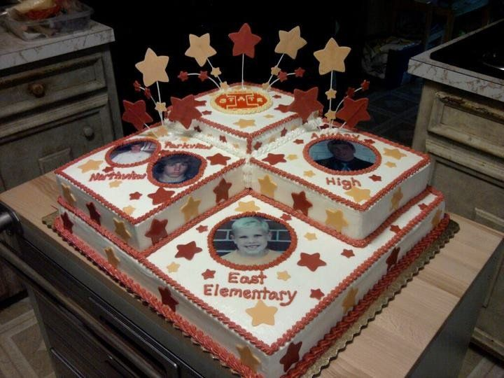 Cake Decoration School : high school graduation cakes ... cake representing the elementary school, middle school and ...