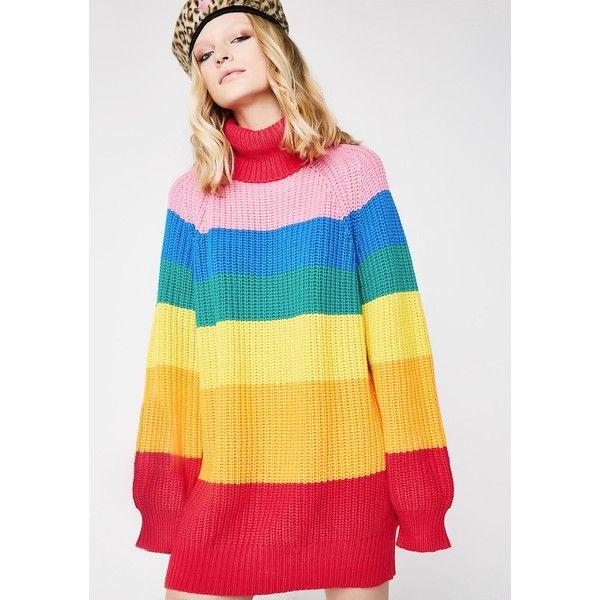 Lazy Oaf Rainbow Roll Neck Jumper 335 Pln Liked On Polyvore