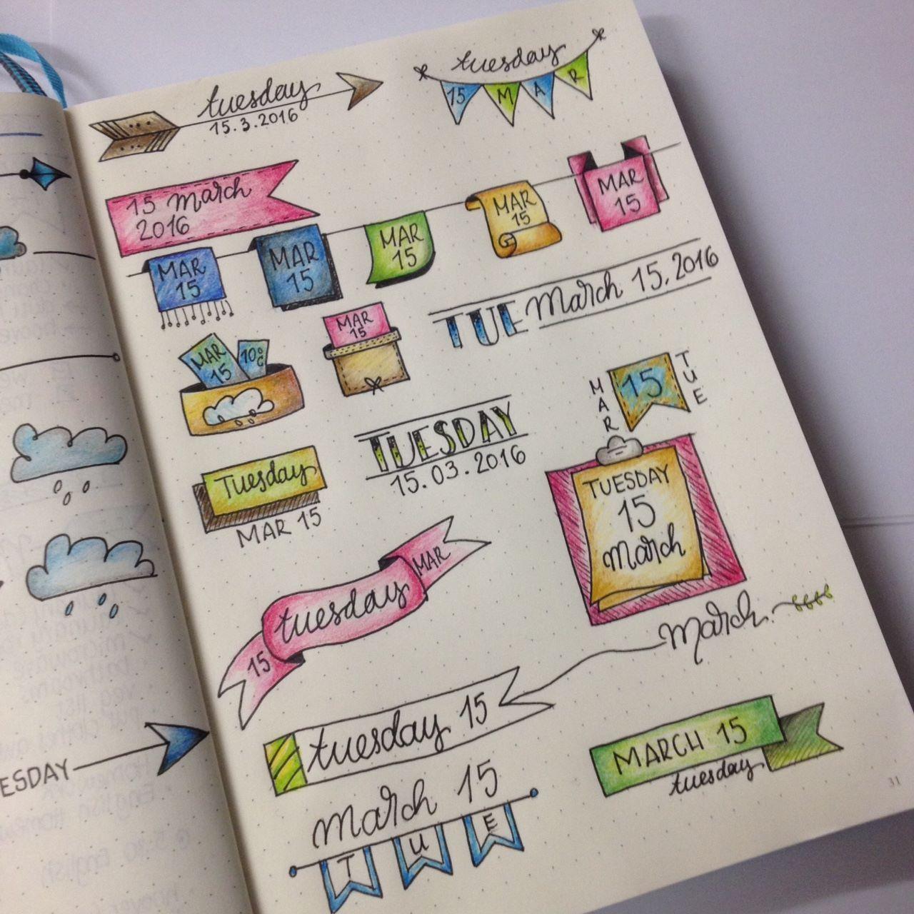 Bujo daily header ideas from the bullet journal junkies facebook