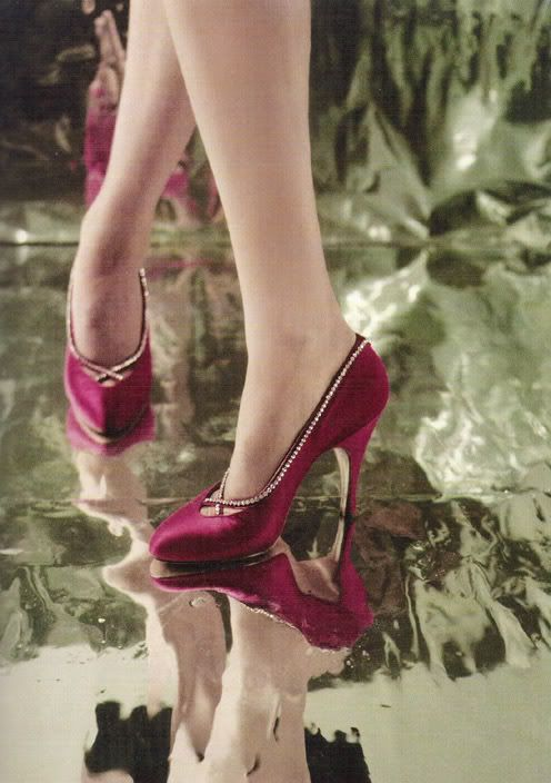 Every occasion demanded the correct footwear. These 1953 red rhinestone-studded high-heeled opera pumps are from Charles Jourdan, the first shoe designer to place advertisements in high-end fashion magazines, which helped associate his name with haute couture.