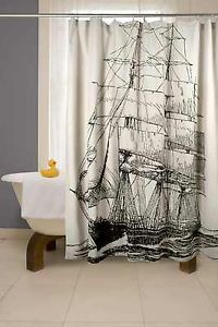 Nautical Shower Curtains Blue Ship Boat Fabric Unique Shower