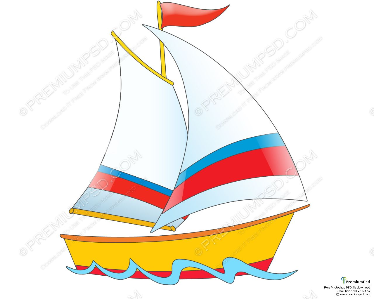 Cartoon Boat Ship Design PSD Download