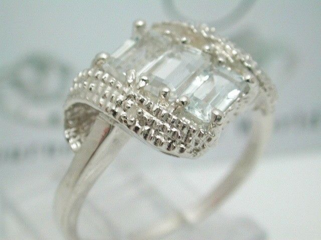New Platinum/Solid .925 Sterling Silver Diamond & Blue Aquamarine Ring ~ Size 7  #Cocktail