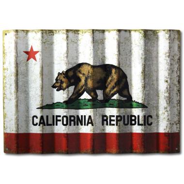 Vintage California Flag On Corrugated Metal California Flag California State Flag Vintage California