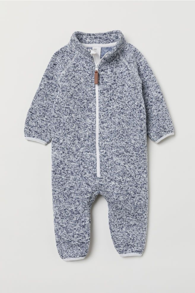 Photo of Knit Fleece Overall – Dark blue melange – Kids | H&M US