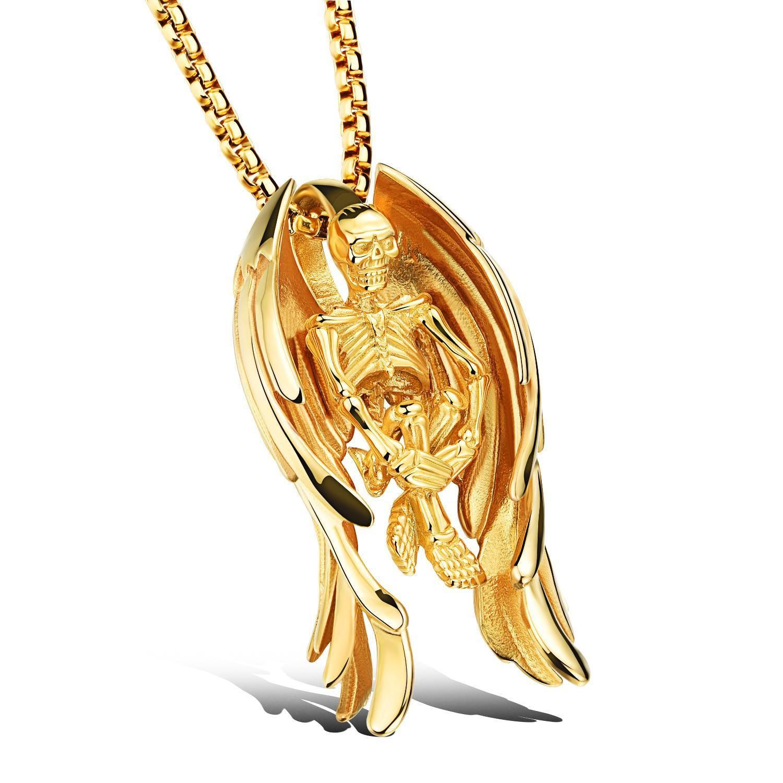 L steel skeleton u angel wings pendant necklace for punk men boys