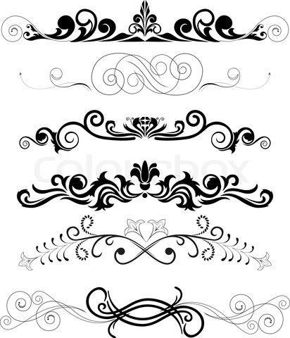 Vektor af 'Vector illustration : sæt af hvirvlende dekorative blomstermotiver elementer'