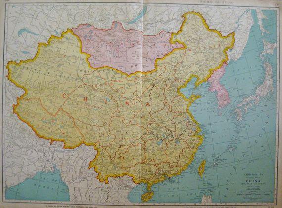 Rare china map of china mongolia map korea map by plaindealing rare china map of china mongolia map korea map by plaindealing gumiabroncs Gallery