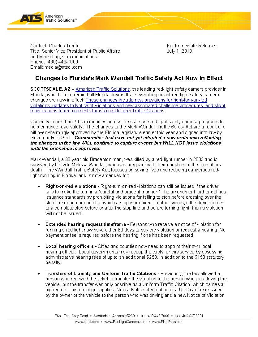 Changes To Floridau0027s Mark Wandall Traffic Safety Act Now In Effect · Red  Light CameraChange ...