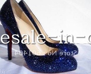 2016 brand new dark blue crystal pumps Sexy Crystal high heels,Gorgeous wedding shoes shinning p ...