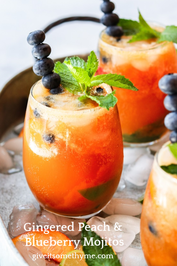 Gingered Peach and Blueberry Mojitos Gingered Peach & Blueberry Mojitos - beat the heat with a refreshingly flavorful twist to the classic cocktail! |