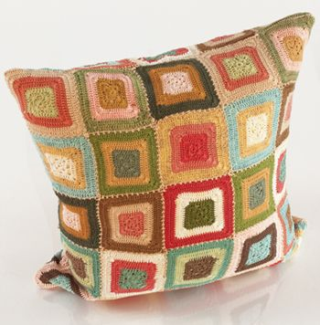 great color combo in crocheted squares pillow