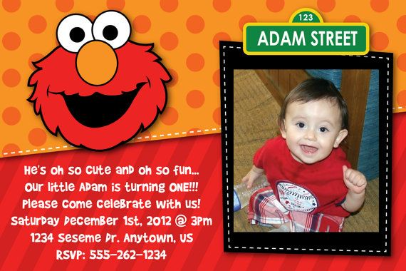 Custom Elmo Sesame Street Invitation By HeathersCreations11