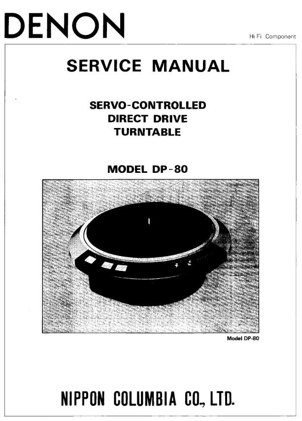 Denon DP 80 Turntable System Service Manual FREE DOWNLOAD