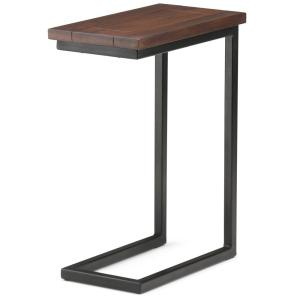 Simpli Home Skyler Solid Mango Wood And Metal 10 In Wide Modern Industrial C Side Table In Dark Cognac Brown 3axcsky 09 The Home Depot In 2020 Industrial Side Table Side Table