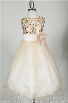 Champagne Sequenced Bodice flower girl dress. With elegant mesh skirt hemmed with yoro stitch. Matching inner lining with crinoline for even puffier elegant Look.