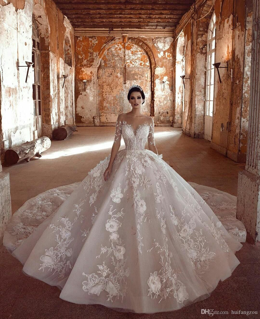 Luxurious Sparkly 2019 African Wedding Dresses Sheer Neck Long Sleeves Bridal Dresses Beaded Sequ Sheer Wedding Dress Arabic Wedding Dresses Satin Wedding Gown [ 1325 x 1079 Pixel ]