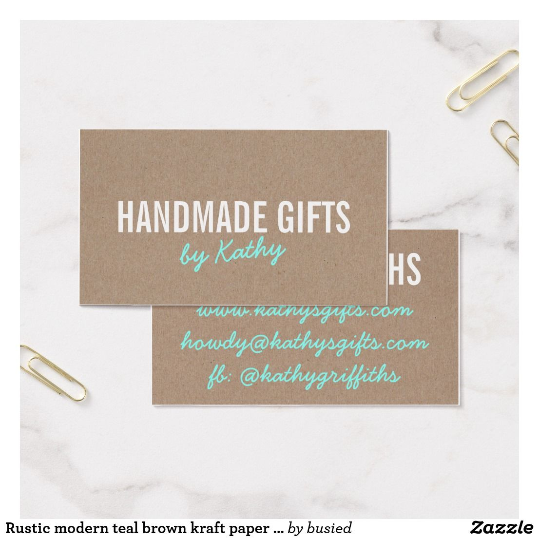 Rustic modern teal brown kraft paper handmade diy business card rustic modern teal brown kraft paper handmade diy business card reheart Image collections