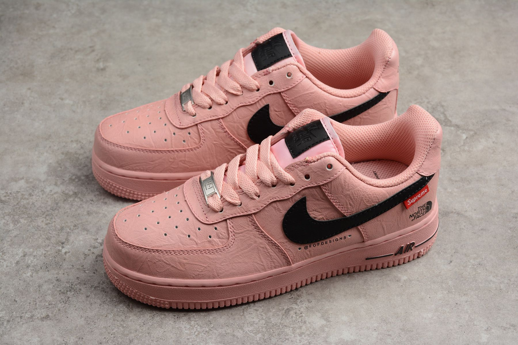 Supreme X The North Face X Nike Air Force 1 07 Pink Black Ar3066 800 For Women Hype Shoes Leather Shoes Woman Athletic Shoes