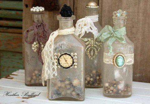 How To Decorate Old Bottles Vintage Bottles  Bottle Decorating And Vintage
