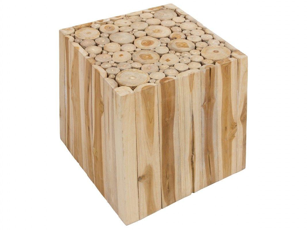 Mesa cubo de madera de teca | Mesas auxiliares | Pinterest | Cubos ...