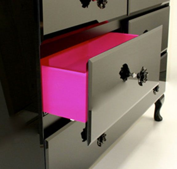 Paint the inside of drawers for a surprising bit of color. Lovin the hot pink