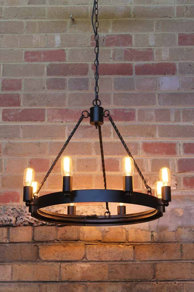 Lodge Chandelier. Black chandelier. Rustic style ring chandelier. Online lighting | Fat Shack Vintage